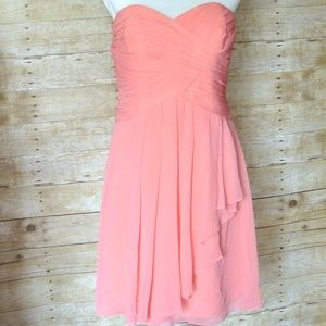 David's Bridal Strapless Crinkle Chiffon Dress 12